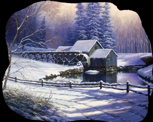Moulin à eau en hiver
